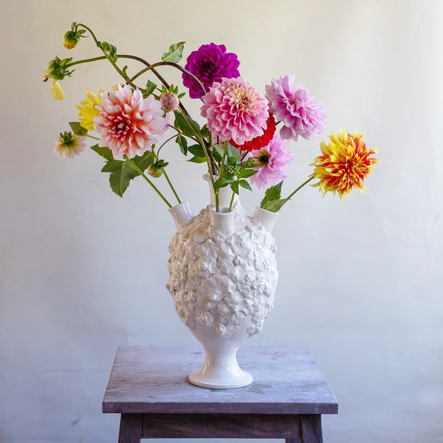 Interior designer Sophie Conran's top tips on how to style your home for winter Frances Palmer Pottery White Earthenware Tulipiere with Flowers