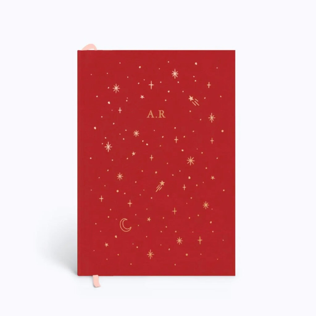Papier Red Moons Stars leather diary