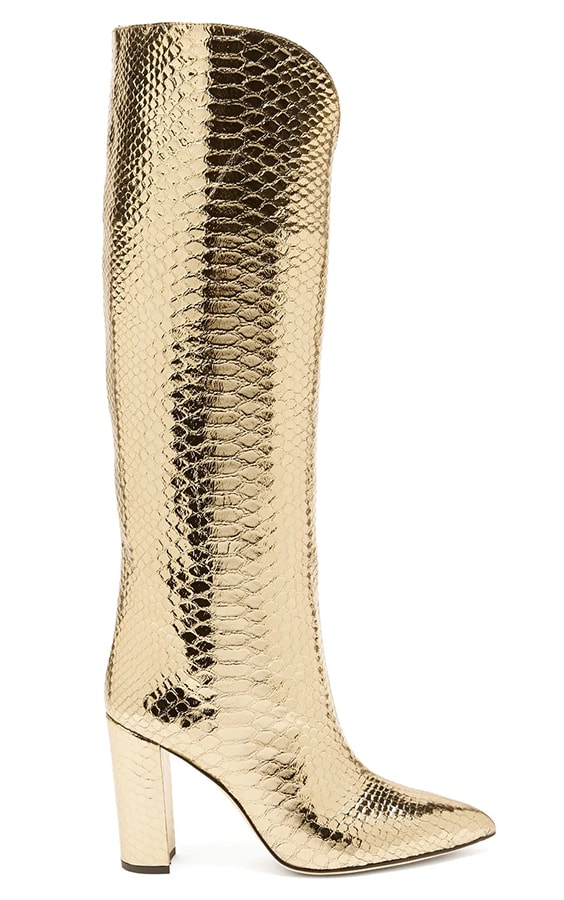 A guide to festive dressing: How to style yourself happy at home by Alexandra Carello Paris Texas Metallic knee high python effect leather boots