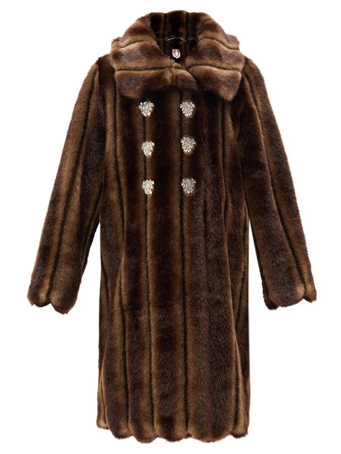 Shrimps Vincent faux fur double breasted coat
