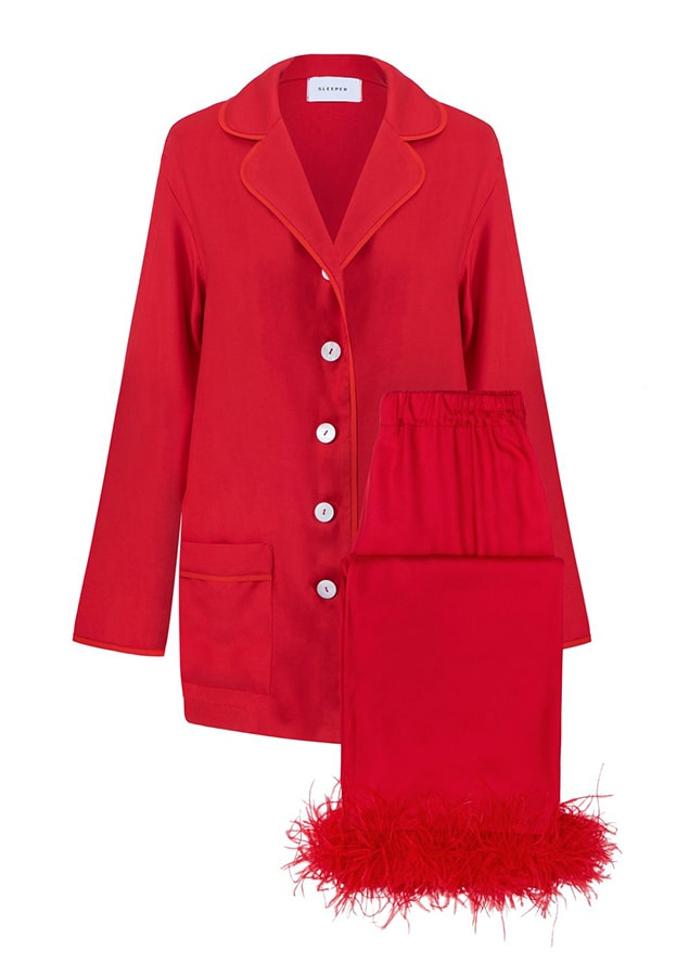 A guide to festive dressing: How to style yourself happy at home by Alexandra Carello Sleeper Party Pajama Set with Feathers in Red 290 USD still 1152x1732 1