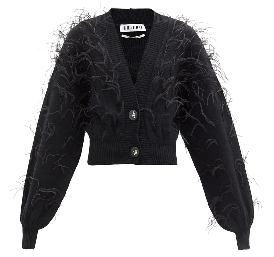 A guide to festive dressing: How to style yourself happy at home by Alexandra Carello The Attico Ostrich feather trimmed lambswool cardigan