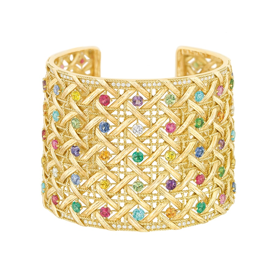 Woven yellow gold My Dior cuff with diamonds and coloured gemstones designed by Victoire de Castellane est. 30000 50000