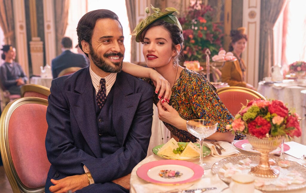 Assaad Bouab and Lily James in The Pursuit of Love