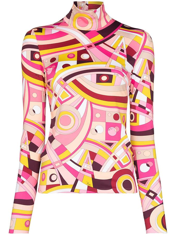 <em>The Serpent</em>: 70s fashion buys inspired by Jenna Coleman's wardrobe Emilio Pucci x Browns 50 geometric print turtleneck top 335 FAR