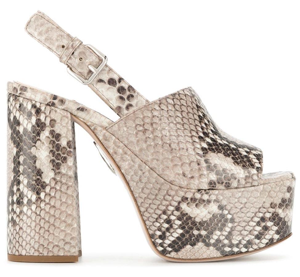 <em>The Serpent</em>: 70s fashion buys inspired by Jenna Coleman's wardrobe Miu Miu python effect platform sandals 605 FAR