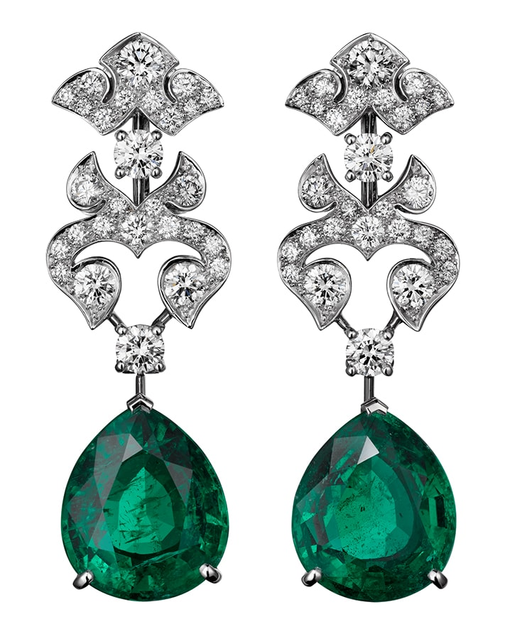 Golden Globes 2021: The stand-out jewellery on the virtual red carpet Cartier High Jewellery earrings platinum emeralds diamonds
