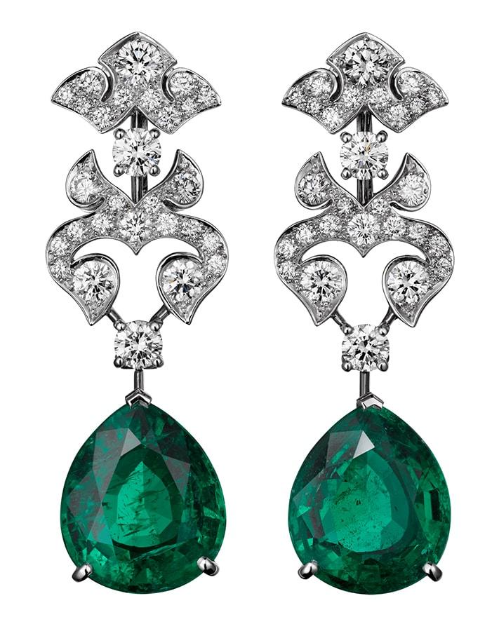 Cartier High Jewellery earrings platinum emeralds diamonds