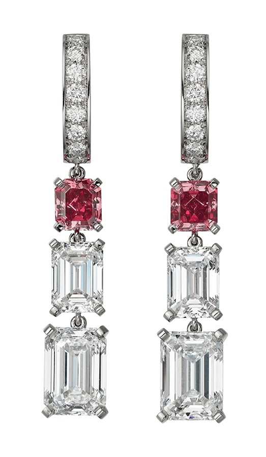 Cartier High Jewellery earrings platinum red diamonds diamonds