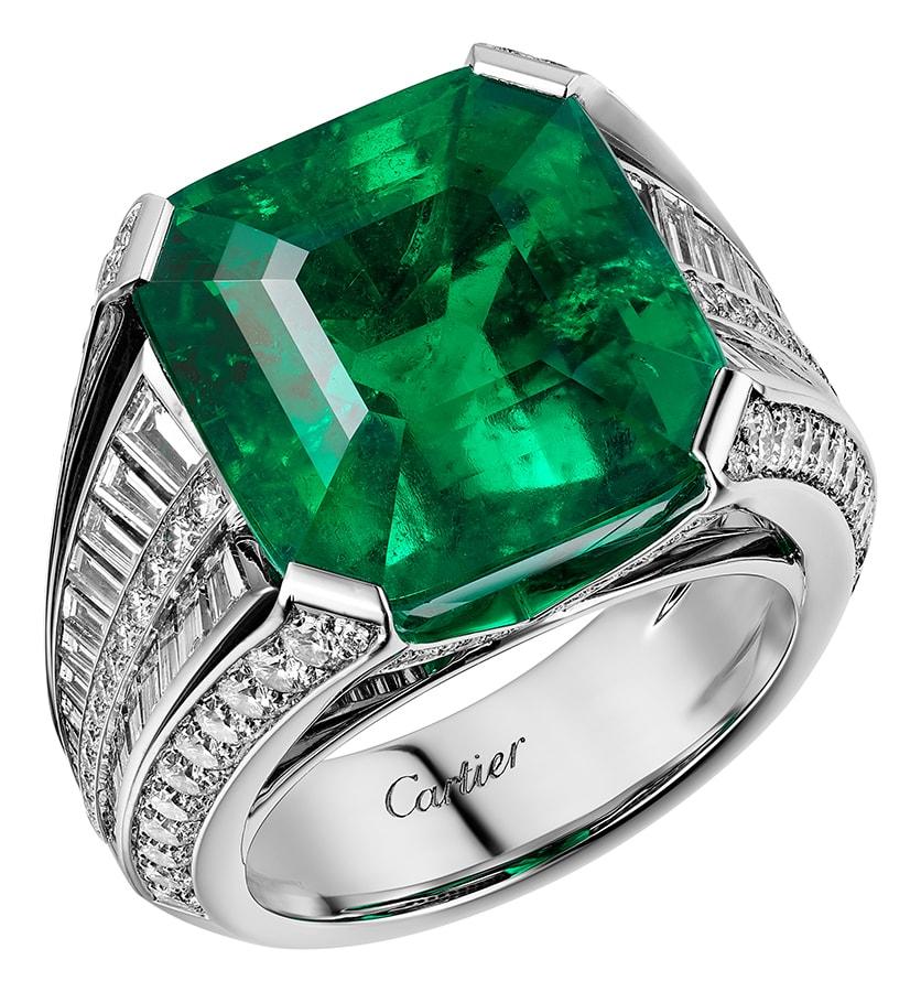 Cartier High Jewellery ring platinum emerald diamonds