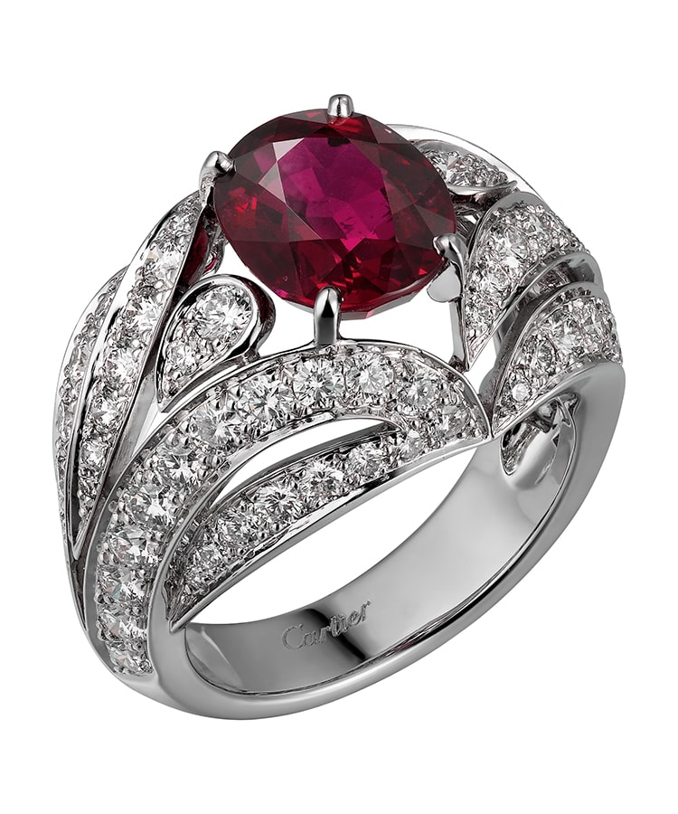 Golden Globes 2021: The stand-out jewellery on the virtual red carpet Cartier High Jewellery ring platinum rubies diamonds
