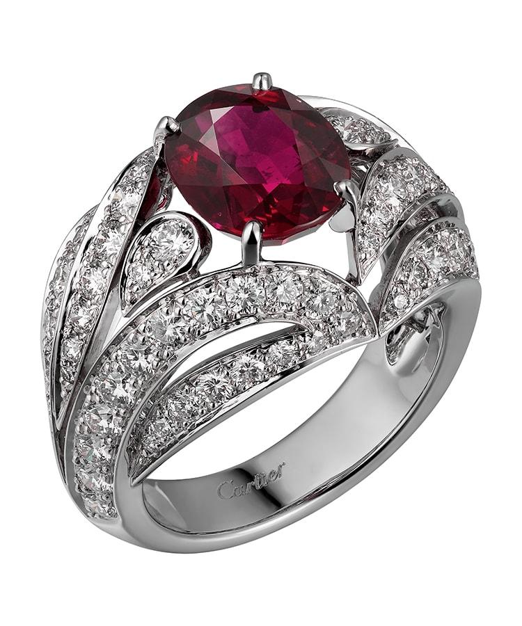 Cartier High Jewellery ring platinum rubies diamonds