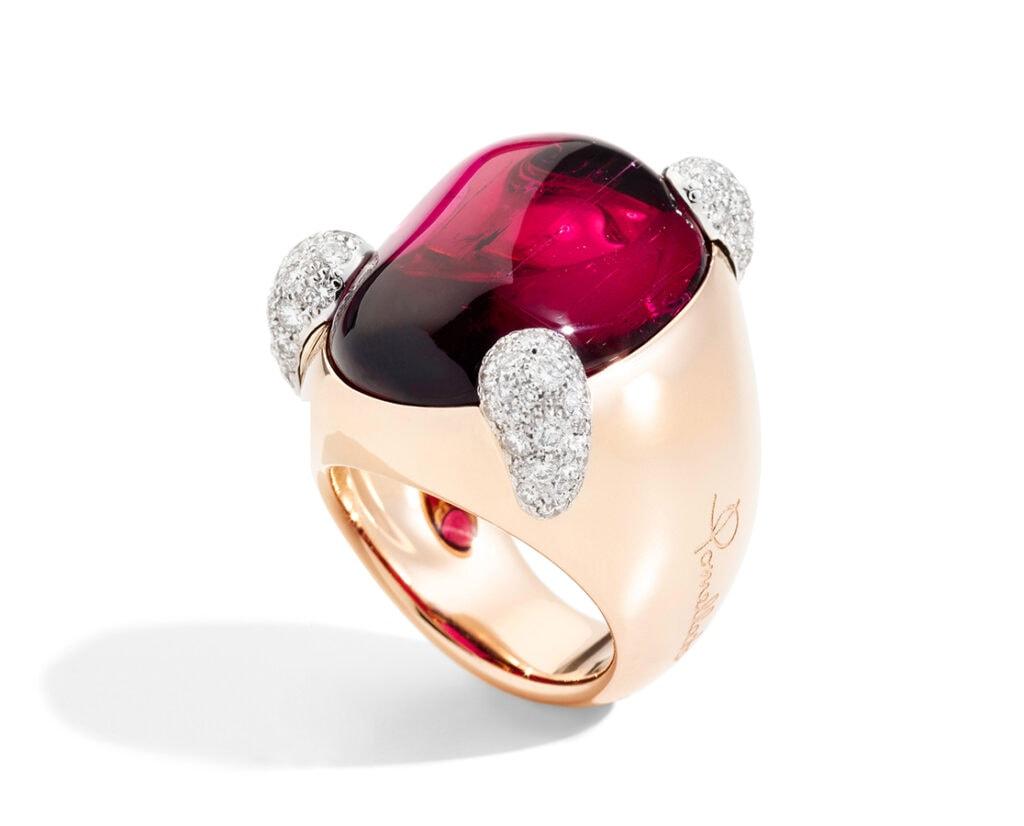 Golden Globes 2021: The stand-out jewellery on the virtual red carpet LA GIOIA DI POMELLATO Ring Montenapoleone RG Rubellite Diamond