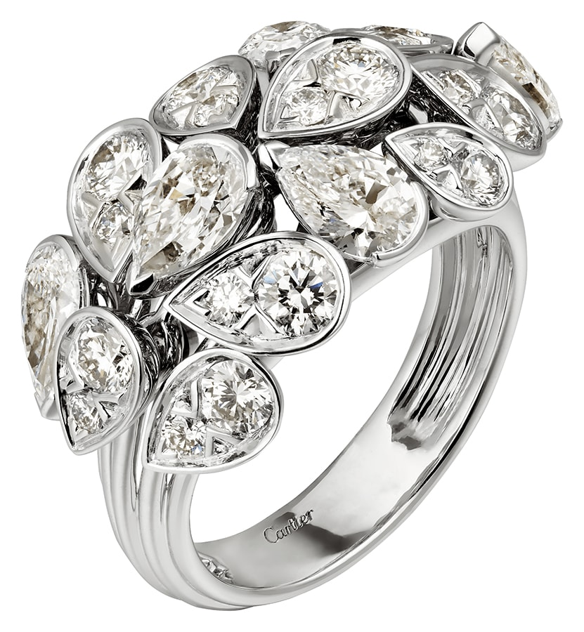Golden Globes 2021: The stand-out jewellery on the virtual red carpet Pluie de Cartier ring 18k white gold diamonds
