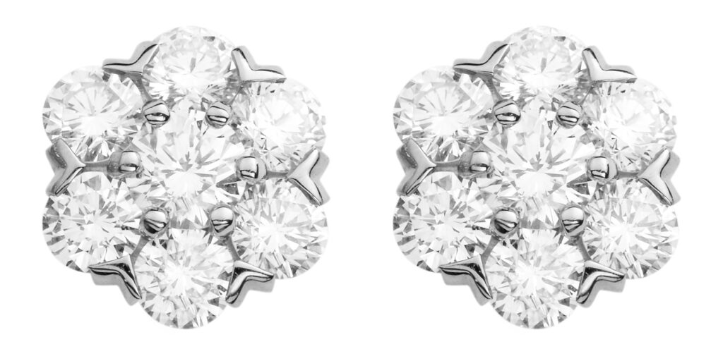 Golden Globes 2021: The stand-out jewellery on the virtual red carpet VCARA48100 FLEURETTE EARRINGS SMALL MODEL WHITE GOLD DIAMONDS 615831