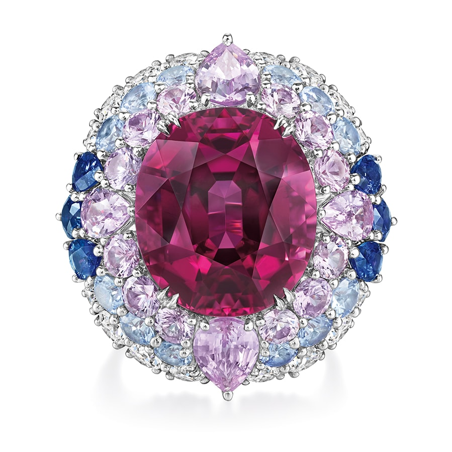 Winston Candy Rubellite and Diamond Ring