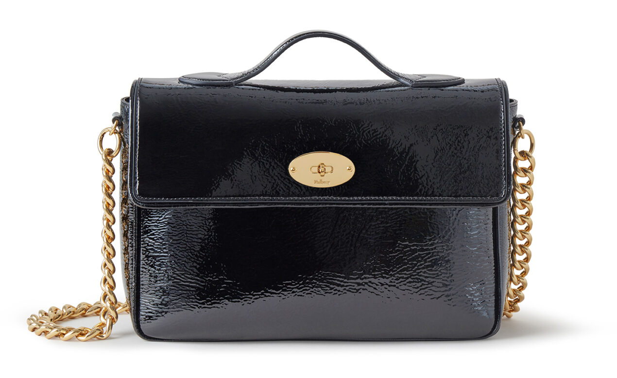 Mulberry x Alexa Chung: New Handbag Collection – 'Big Guy' Shoulder Bag, Patent, Black, £1095