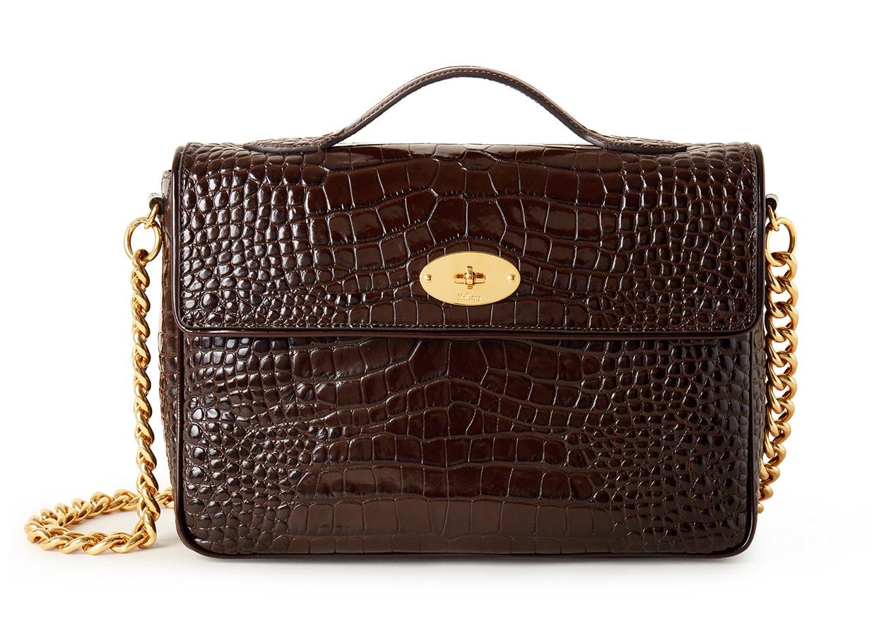 Mulberry x Alexa Chung: New Handbag Collection – 'Big Guy' Shoulder Bag, Shiny Croc, Dark Chocolate, £1195