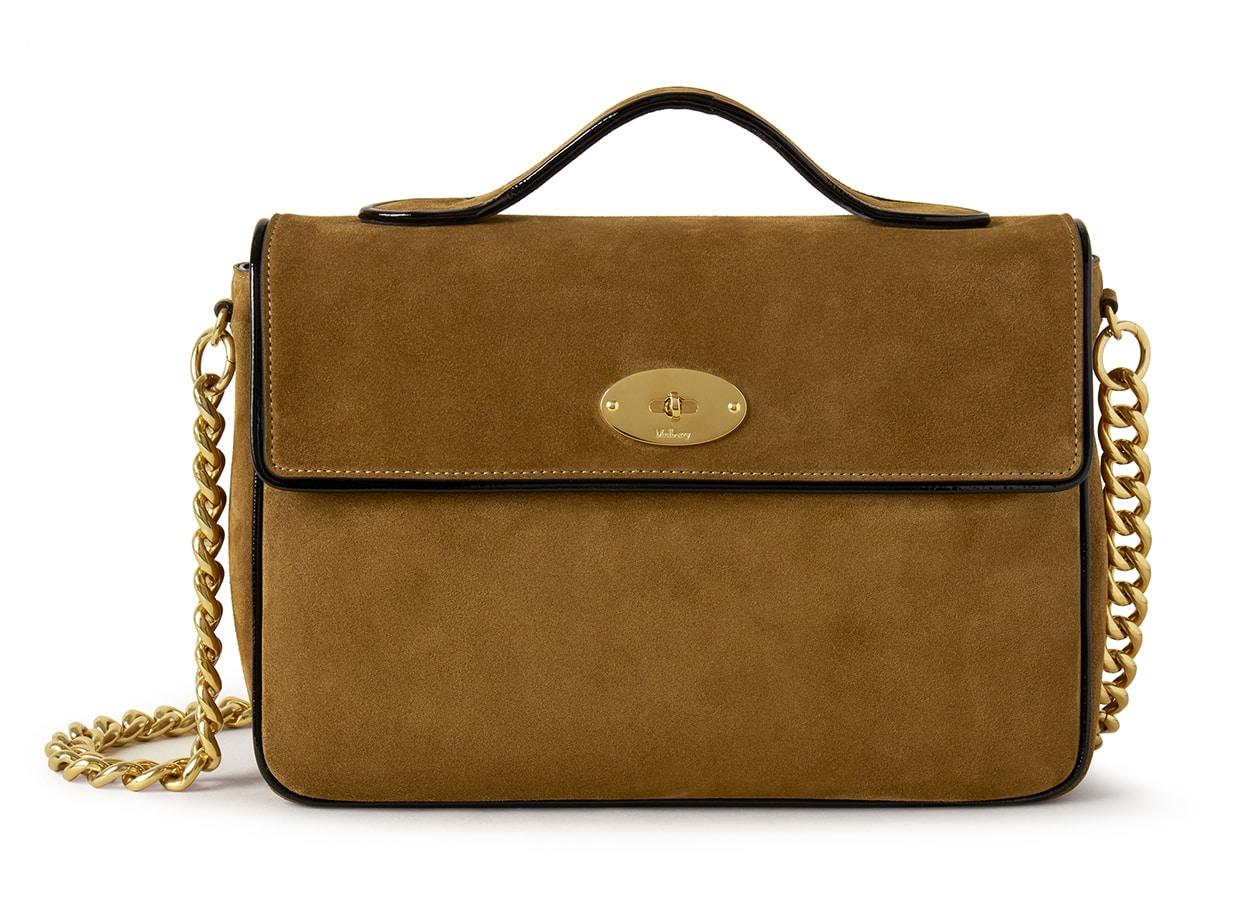 Mulberry x Alexa Chung: New Handbag Collection – 'Big Guy' Shoulder Bag, Suede & Patent, Tan-Black, £995