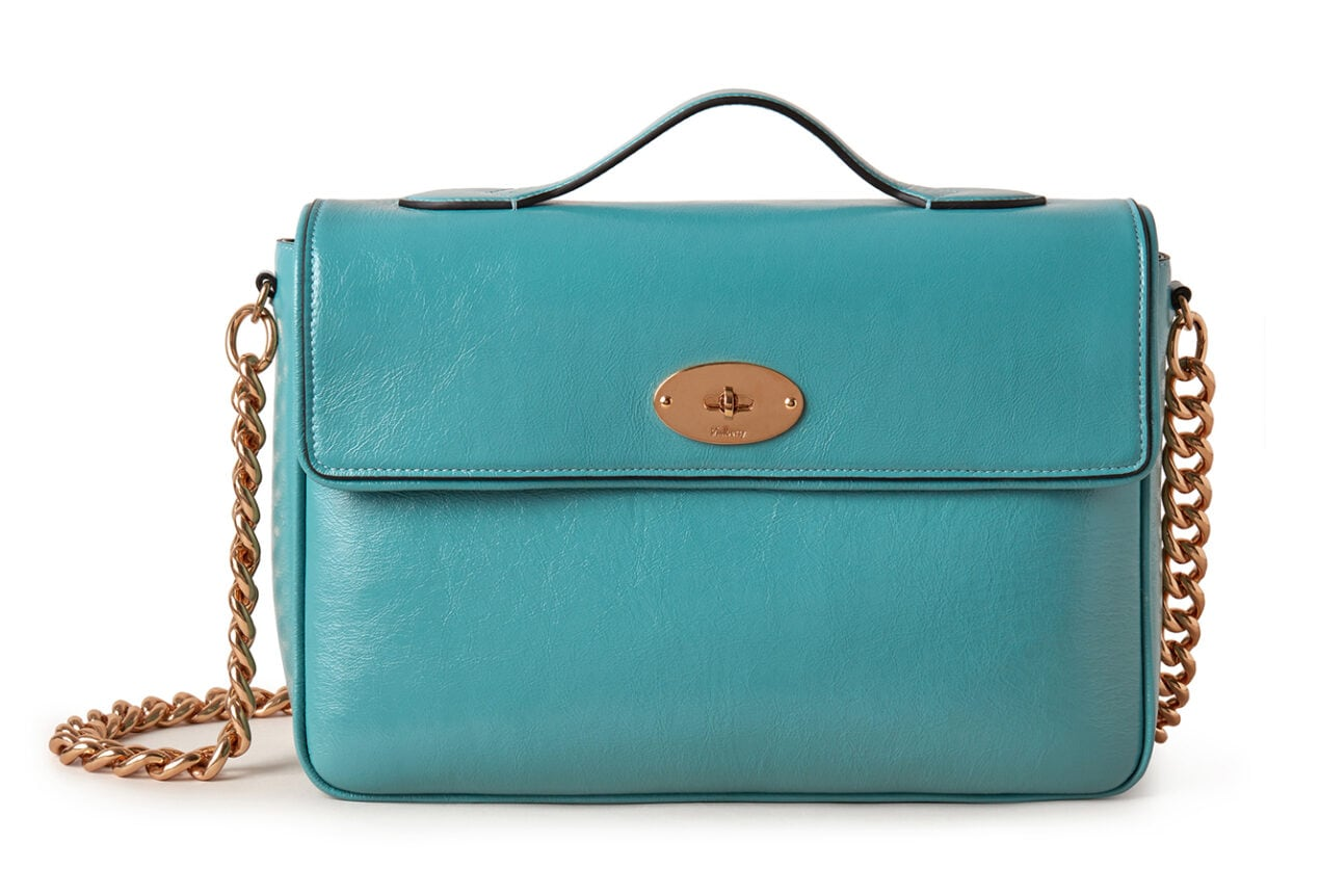 Mulberry x Alexa Chung: New Handbag Collection – 'Big Guy' Shoulder Bag, Tumbled Patent, Denim Blue, £1095