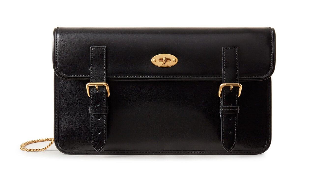 Mulberry x Alexa Chung: New Handbag Collection – 'Little Guy' Clutch, Smooth Shine Calf, Black ,£895
