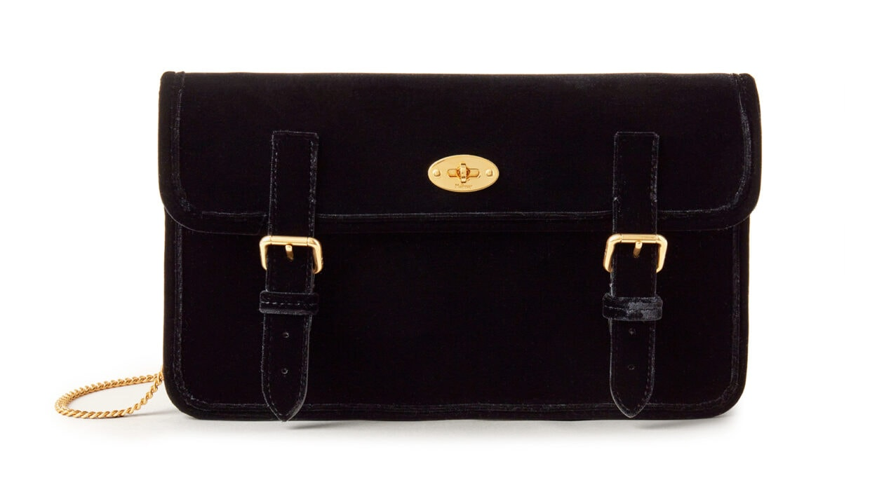 Mulberry x Alexa Chung: New Handbag Collection - 'Little Guy' Clutch, Velvet, Black, £795