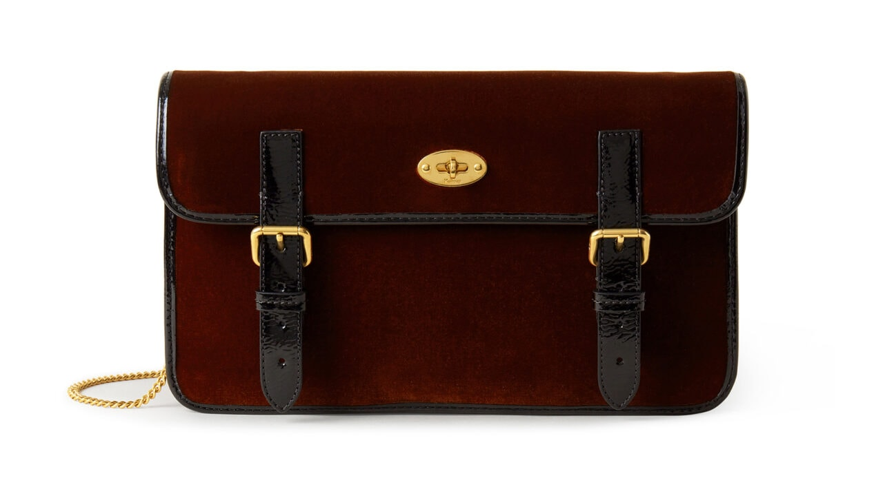 Mulberry x Alexa Chung: New Handbag Collection – 'Little Guy' Clutch, Velvet w Patent Trim, Tan-Black, £795