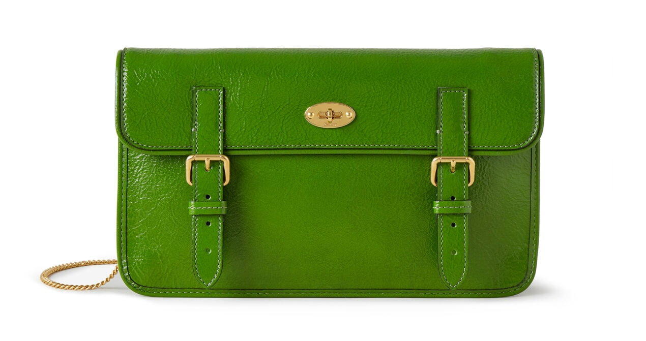 Mulberry x Alexa Chung: New Handbag Collection - 'Little Guy' Clutch, Wrinkled Patent, Apple, £895